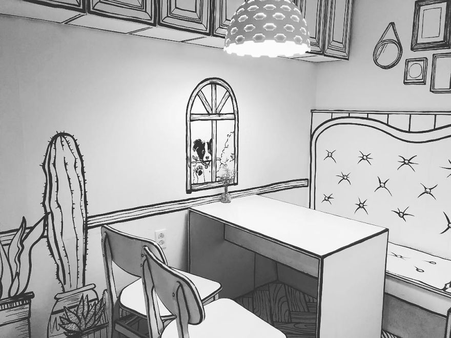 Cartoon, Comic Interior Design Cafe in Seoul, South Korea - 11