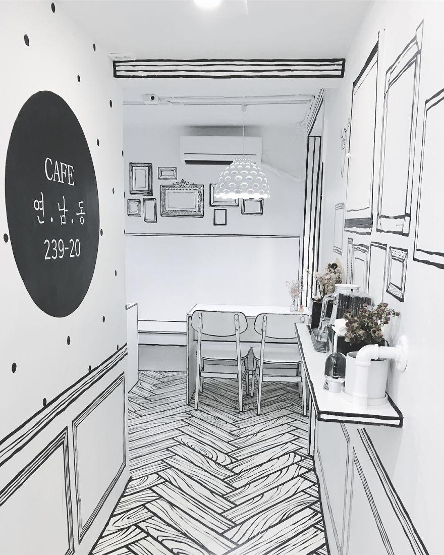 Cartoon, Comic Interior Design Cafe in Seoul, South Korea - 12