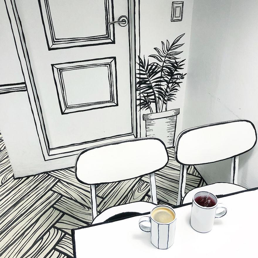 Cartoon, Comic Interior Design Cafe in Seoul, South Korea - 2