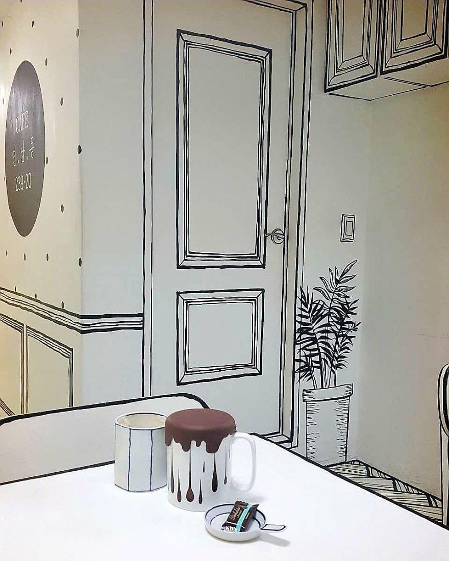 Cartoon, Comic Interior Design Cafe in Seoul, South Korea - 4