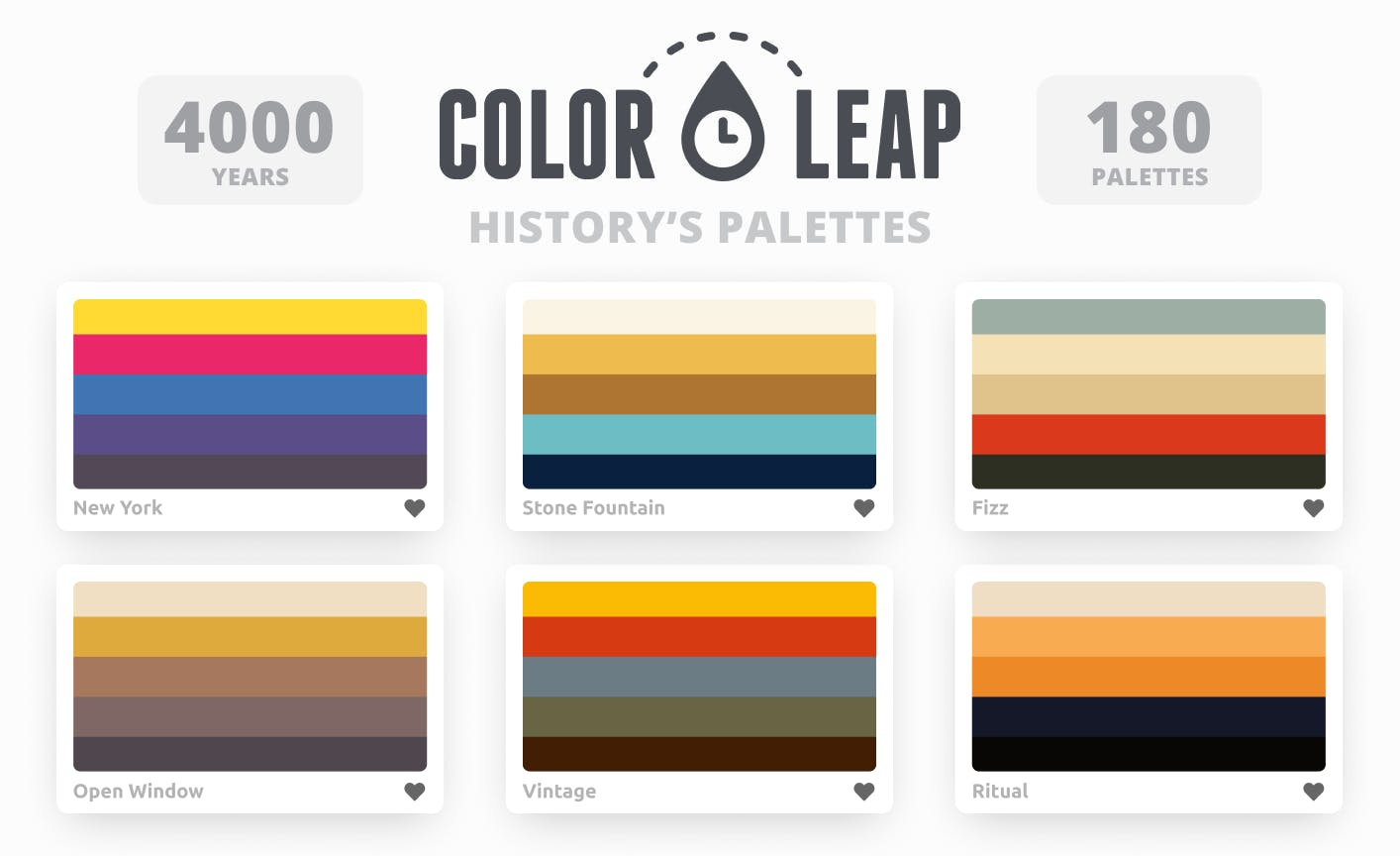 Color Leap App: Color palettes used in different historical eras - 1