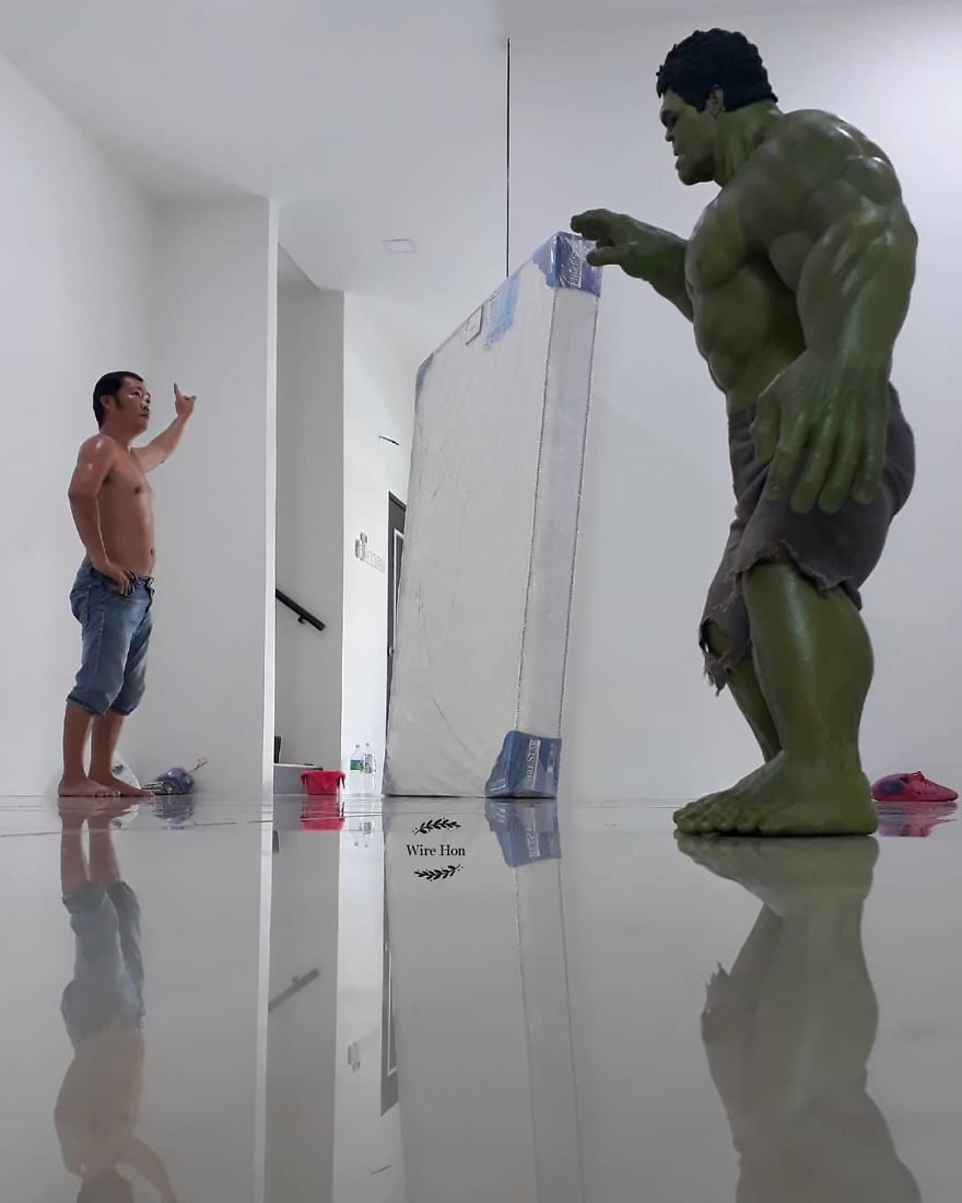 Forced perspective photography with toy superheroes - 12