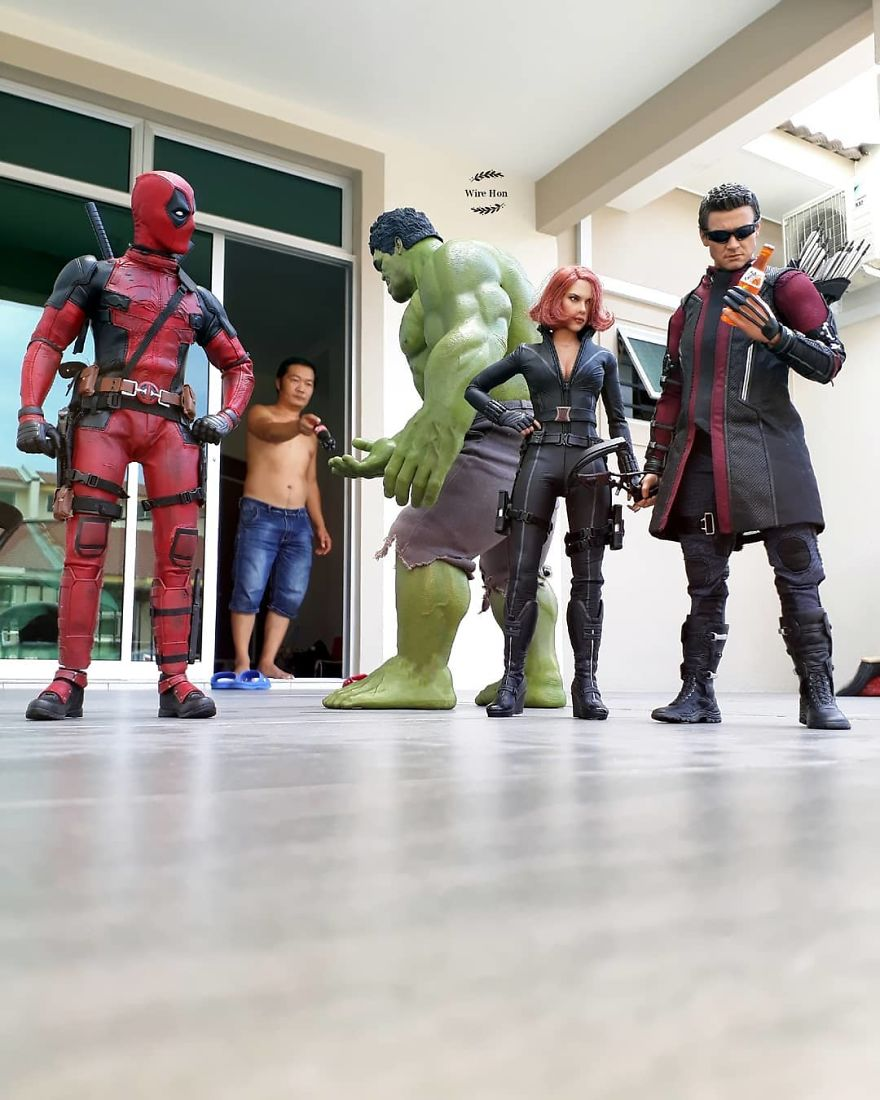 Forced perspective photography with toy superheroes - 13