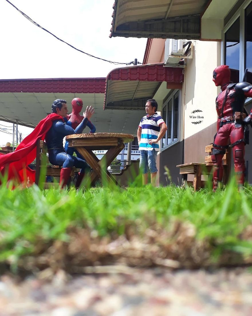 Forced perspective photography with toy superheroes - 19