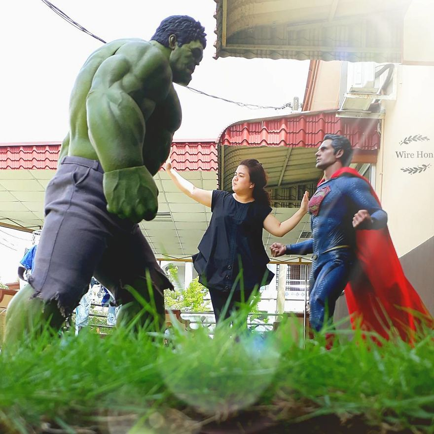 Forced perspective photography with toy superheroes - 20