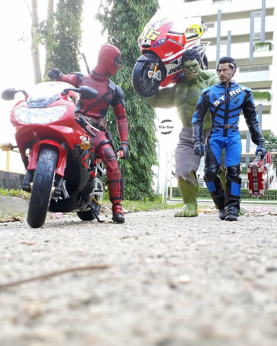 Forced perspective photography with toy superheroes - 26