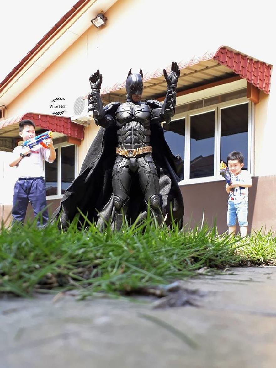 Forced perspective photography with toy superheroes - 29