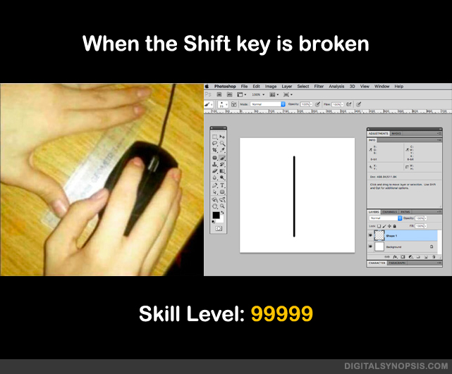 When the shift key is broken - Skill Level: 99999