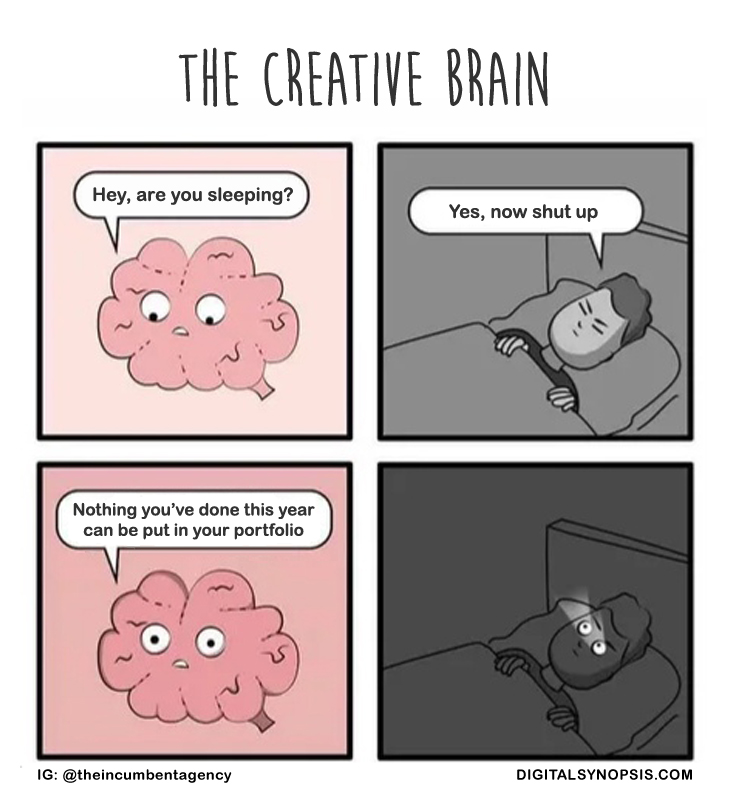 The Creative Brain - Are you sleeping? Yes. Nothing you've done this year can be put in your portfolio.