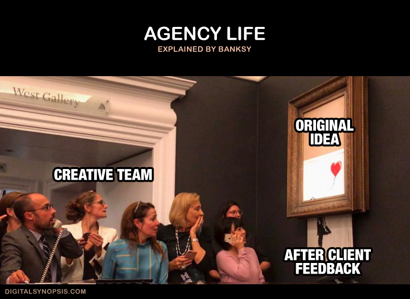 Agency Life: Creative Team - Original Idea vs. After Client Feedback (Banksy self-shredding painting)