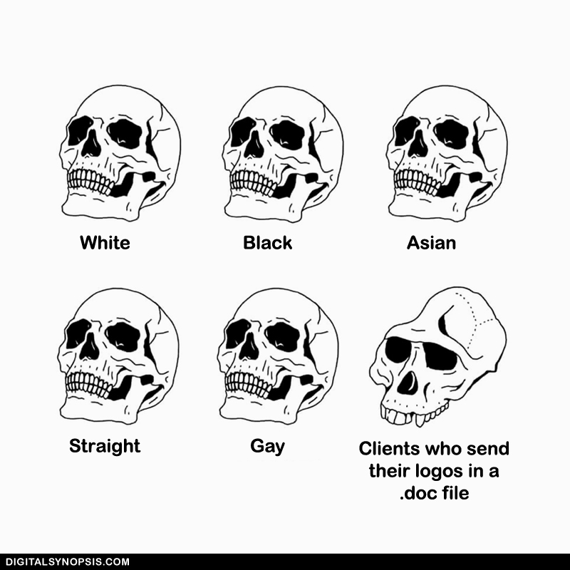 White vs. Black vs. Asian vs. Straight vs. Gay vs. Clients who send their logos in a .doc file