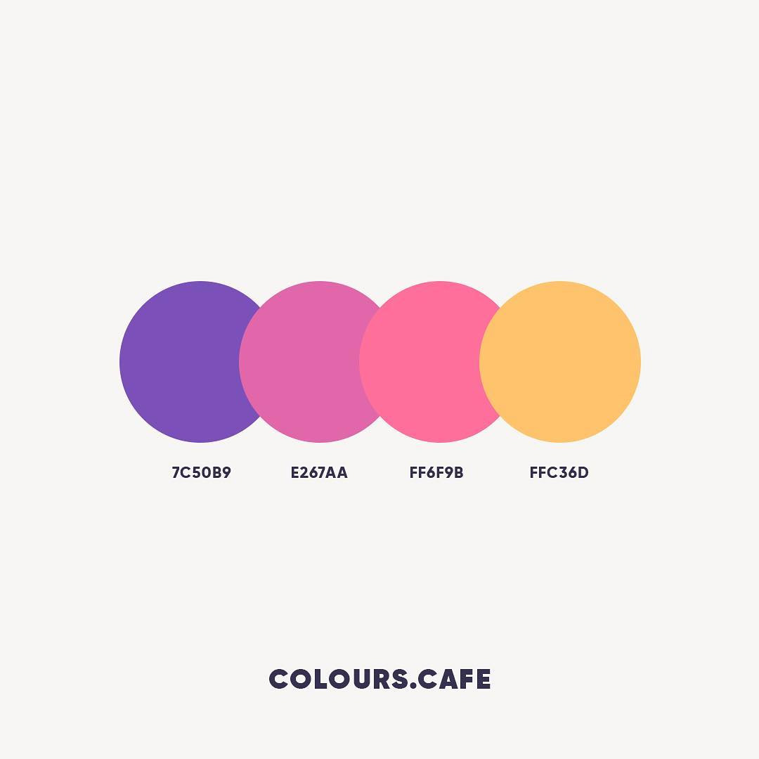 Purple, Pink, Orange color shades, combinations, palettes, schemes
