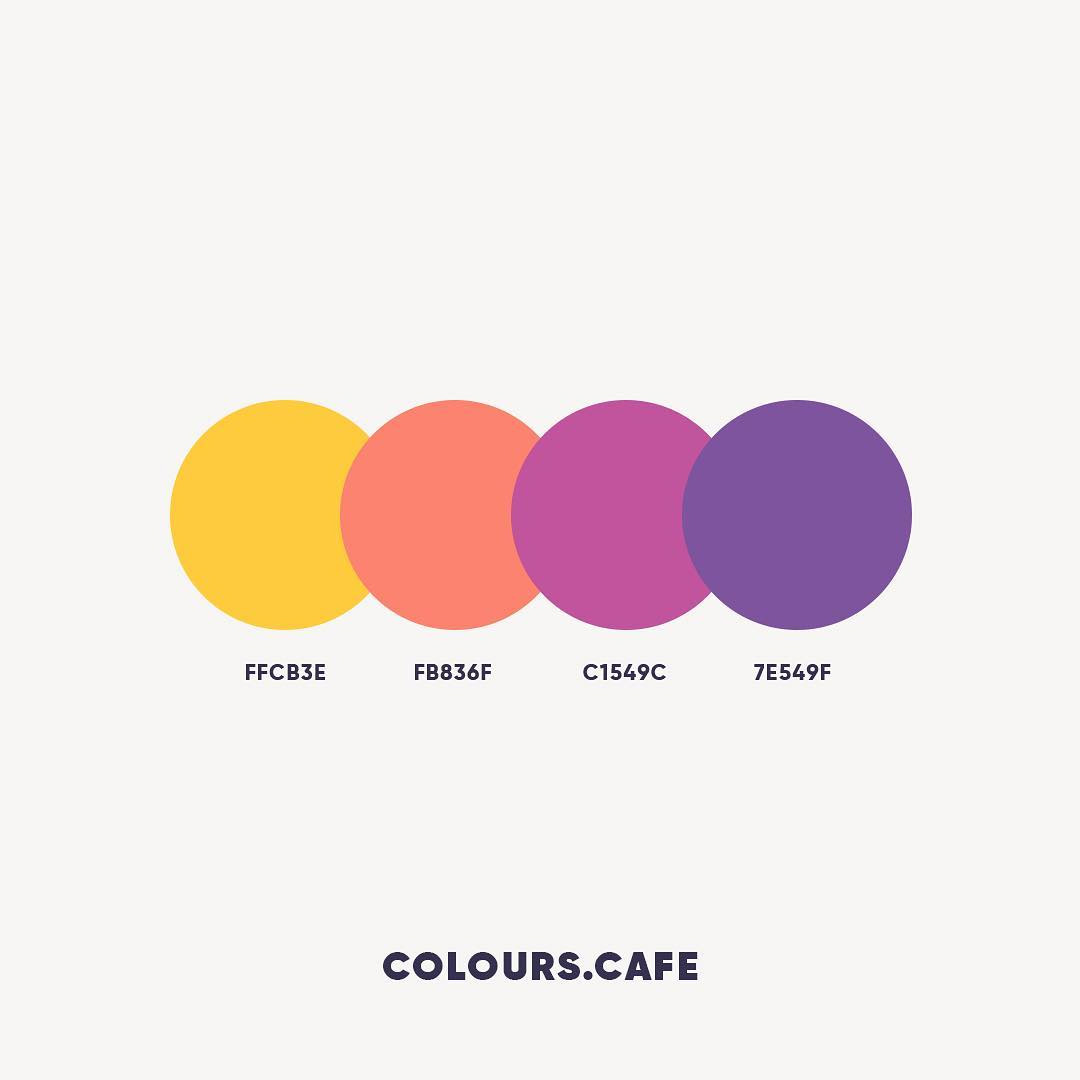 Yellow, Orange, Pink, Purple color shades, combinations, palettes, schemes