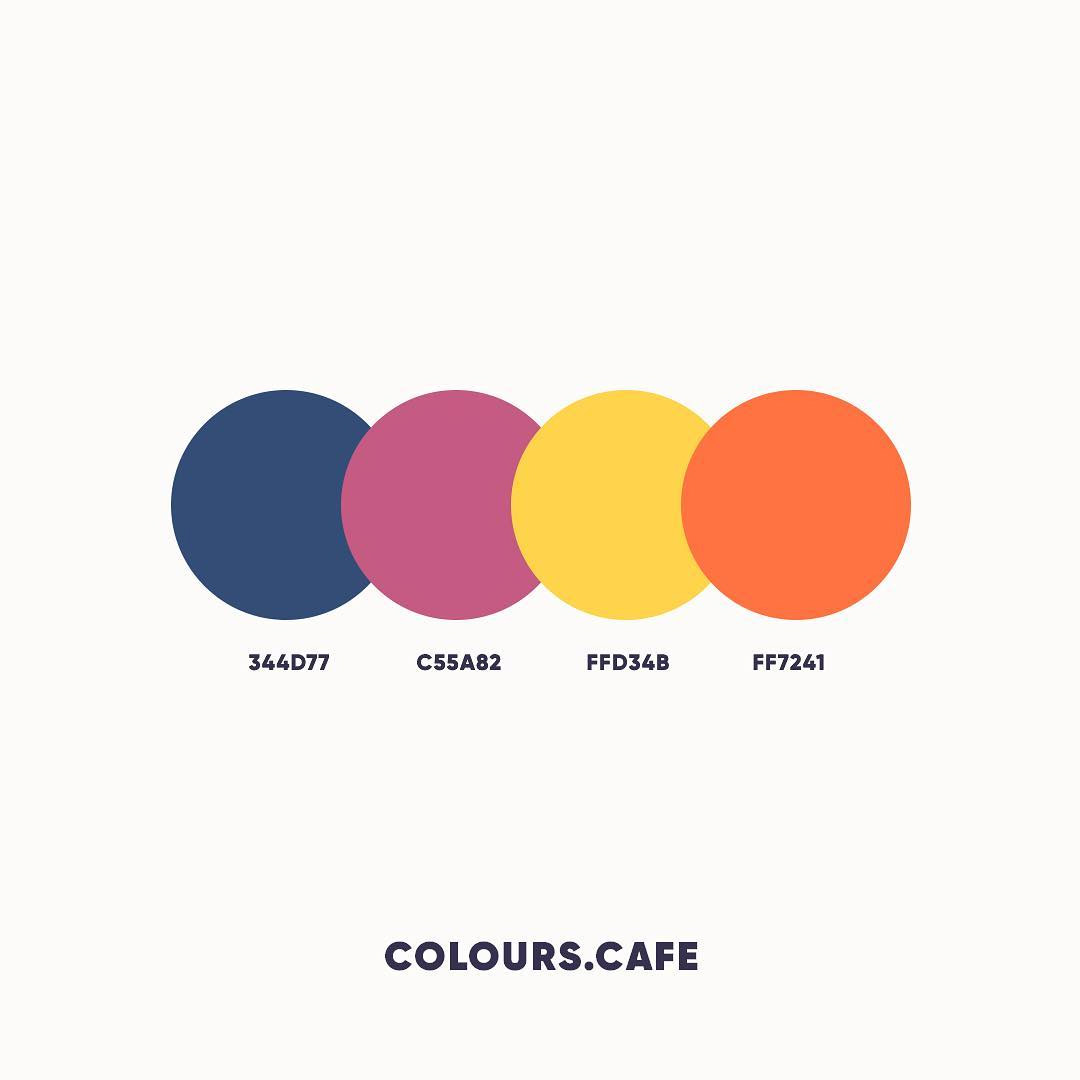Blue, Purple, Yellow, Orange color shades, combinations, palettes, schemes