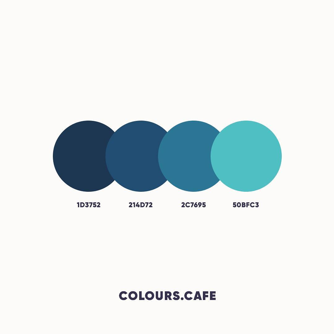 Blue & Teal color shades, combinations, palettes, schemes