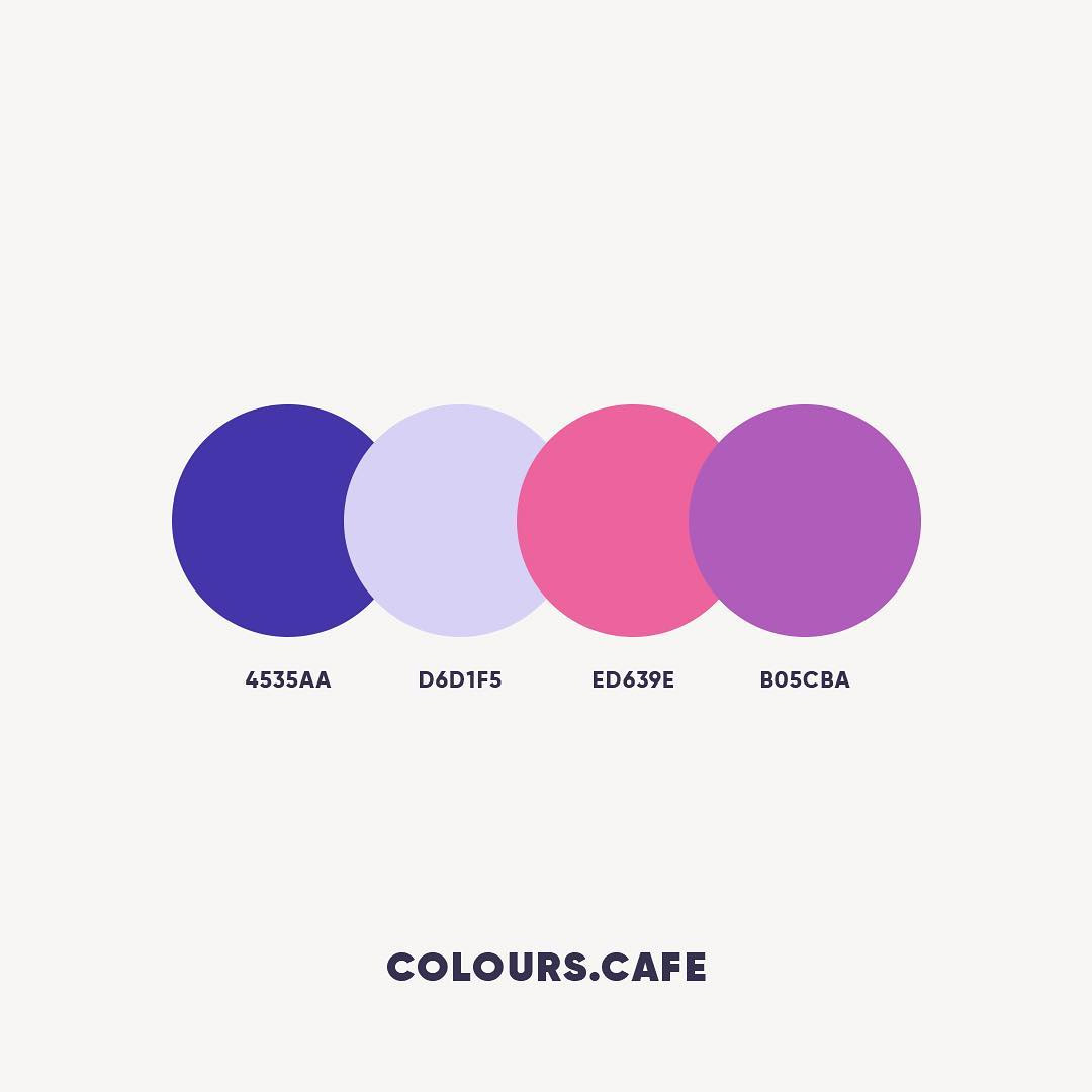 Blue, Pink & Purple color shades, combinations, palettes, schemes