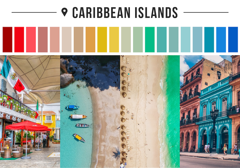 Colors of countries - Caribbean Islands
