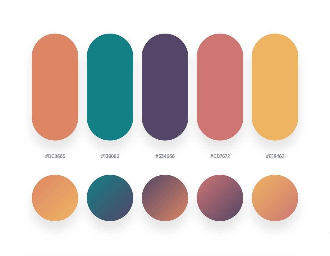 Orange, green, purple, orange color schemes & gradient palettes