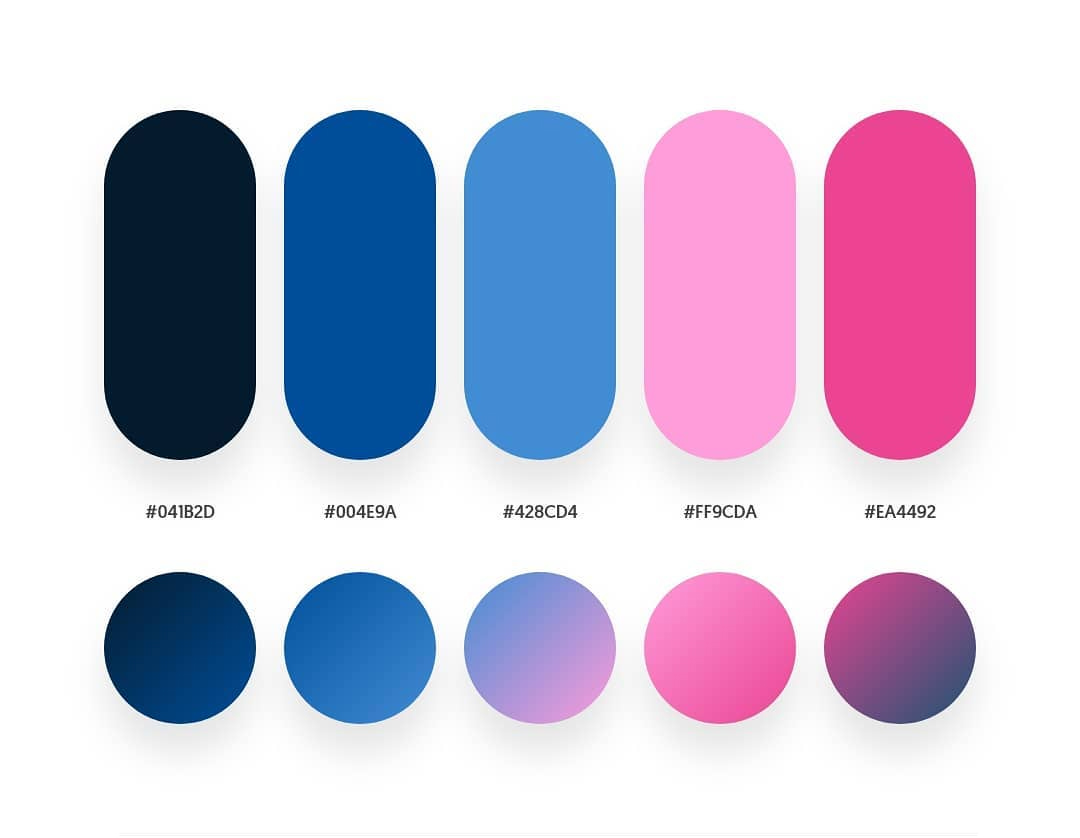 Black, blue, pink color schemes & gradient palettes