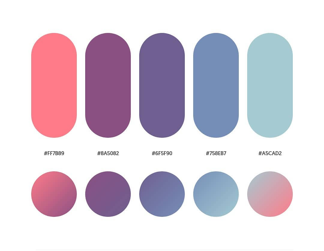 Orange, purple, blue color schemes & gradient palettes