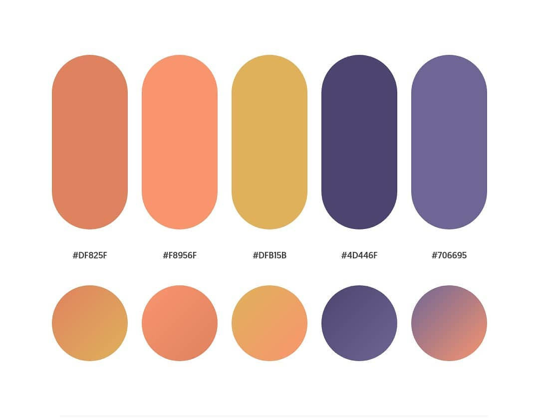 Orange, yellow, blue color schemes & gradient palettes