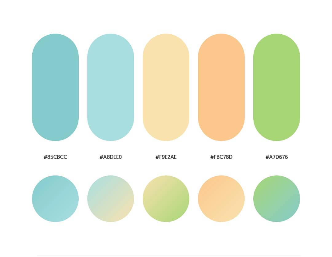 Blue, orange, green color schemes & gradient palettes