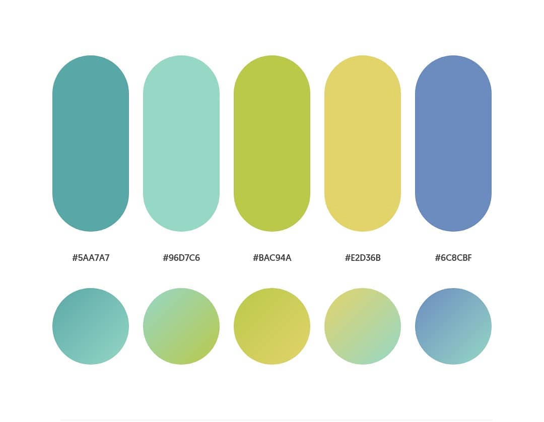 Green, blue color schemes & gradient palettes
