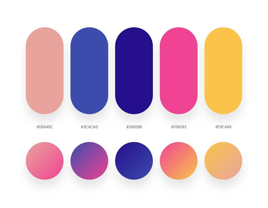 Blue, pink, orange color schemes & gradient palettes