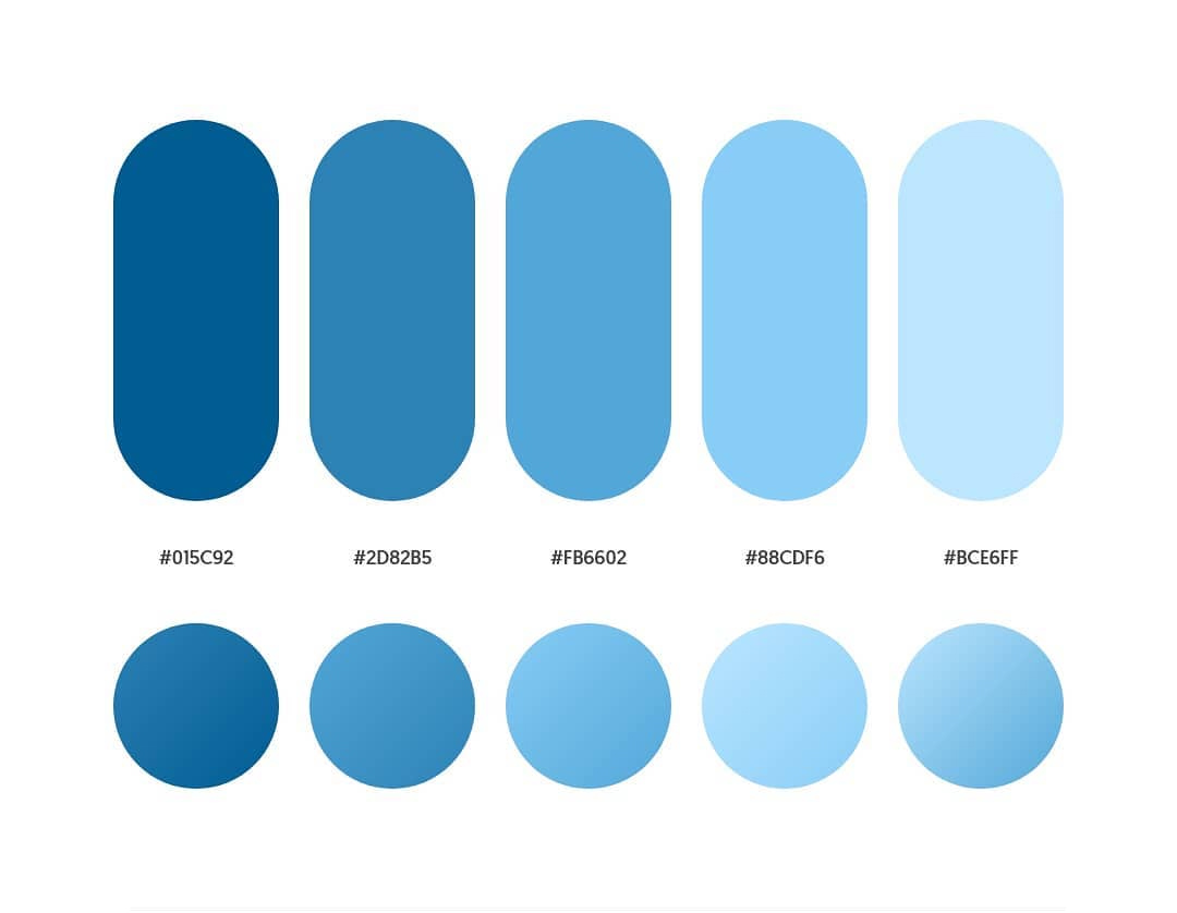 Blue color schemes & gradient palettes
