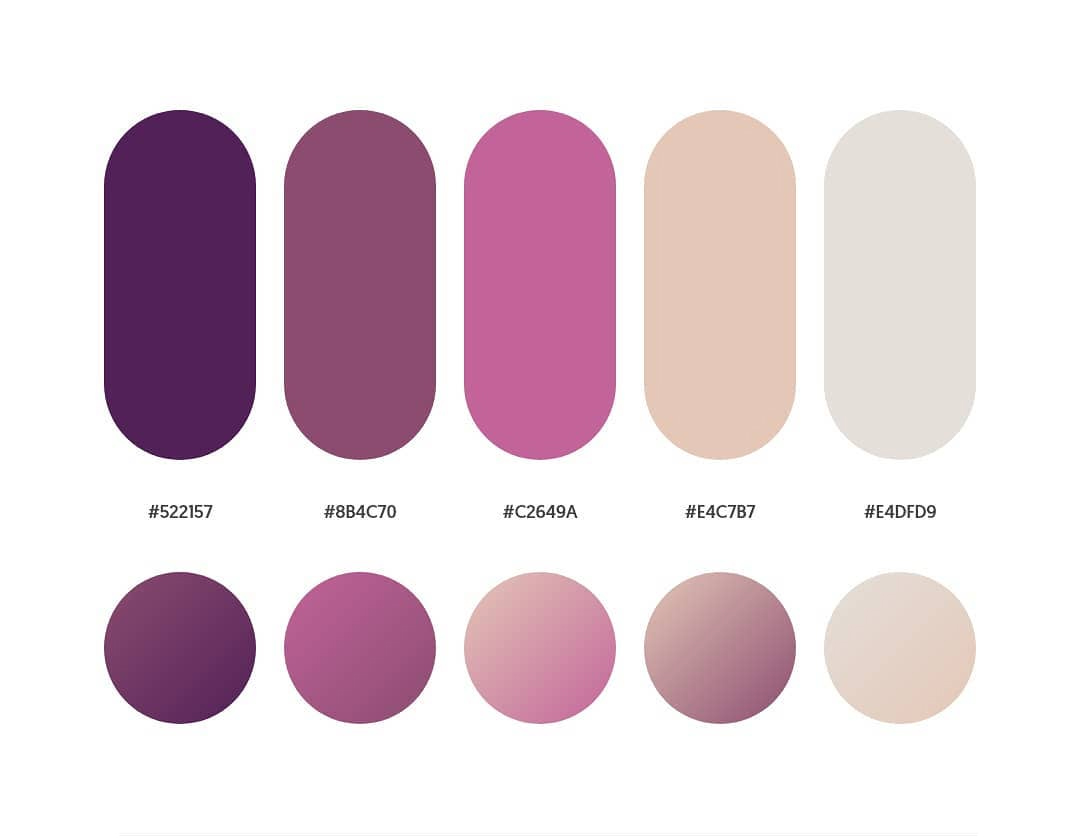 Purple, pink color schemes & gradient palettes