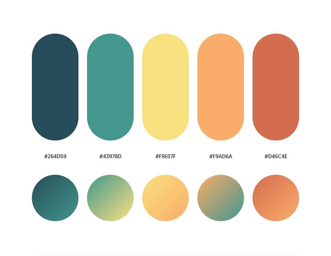 Green, yellow, orange color schemes & gradient palettes