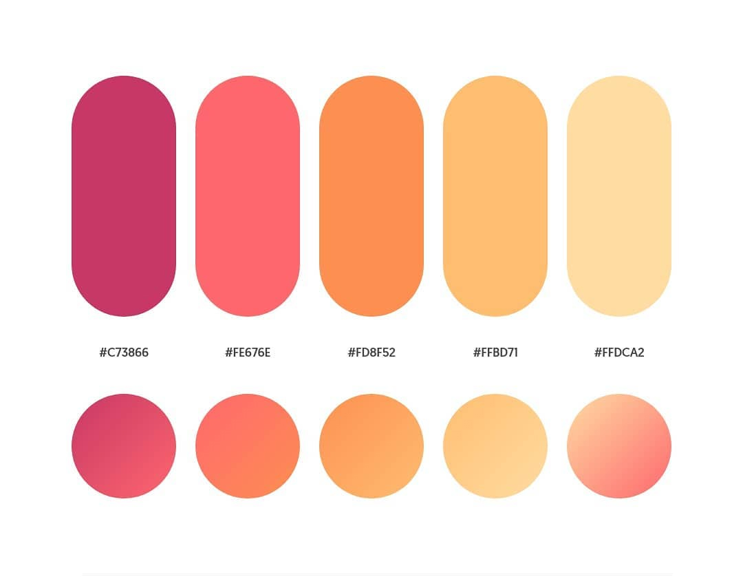 Orange, yellow, pink color schemes & gradient palettes
