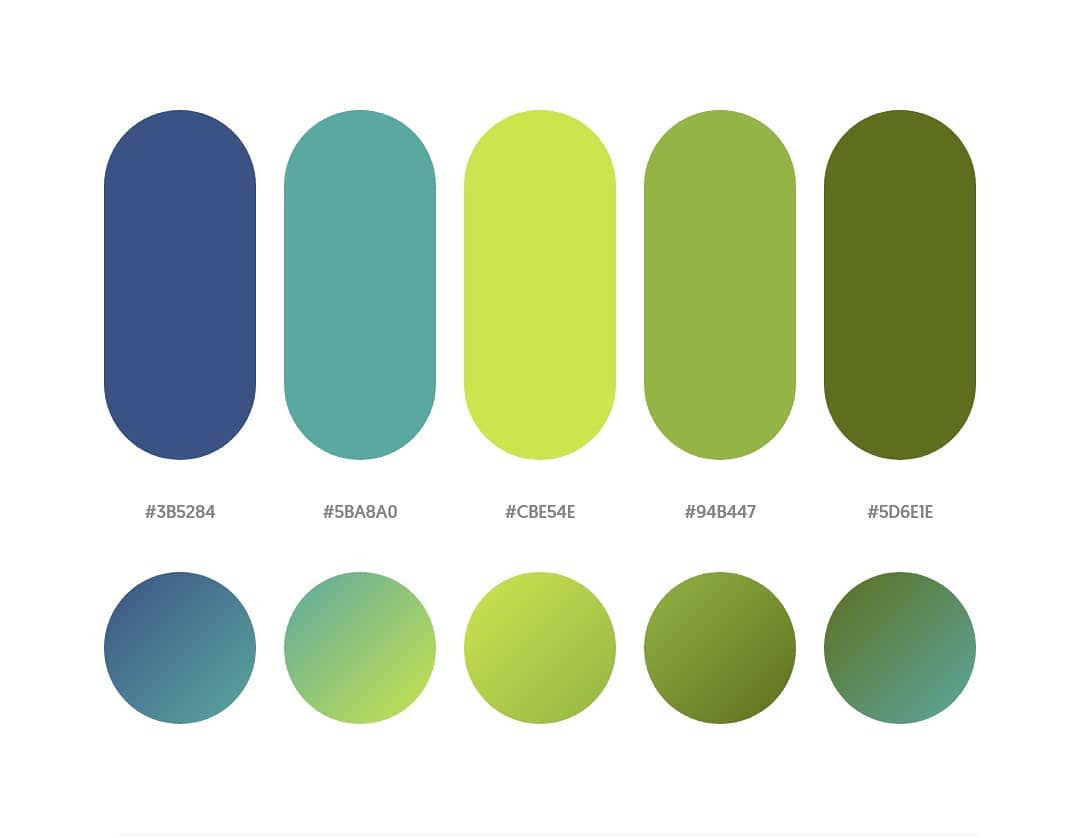 Blue, green color schemes & gradient palettes