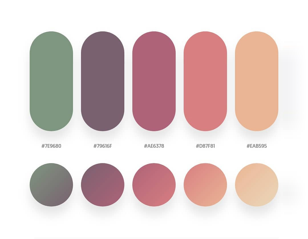 Green, maroon, orange color schemes & gradient palettes