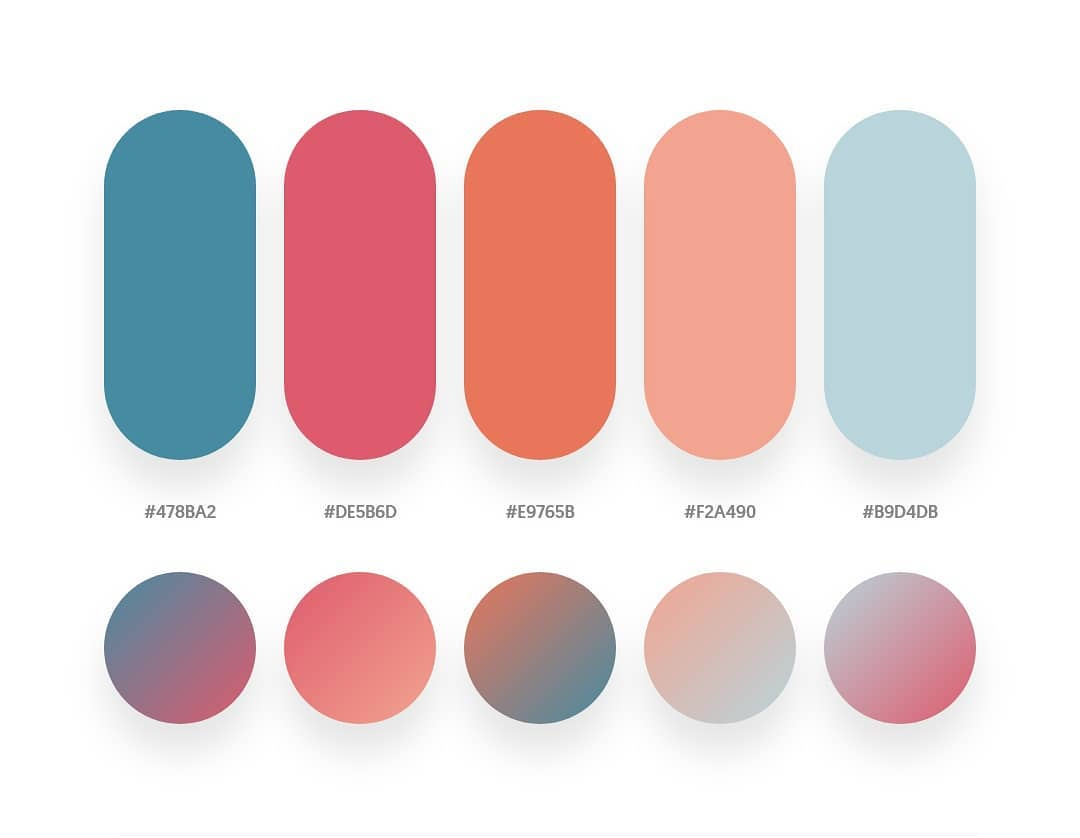 Blue, red, orange color schemes & gradient palettes