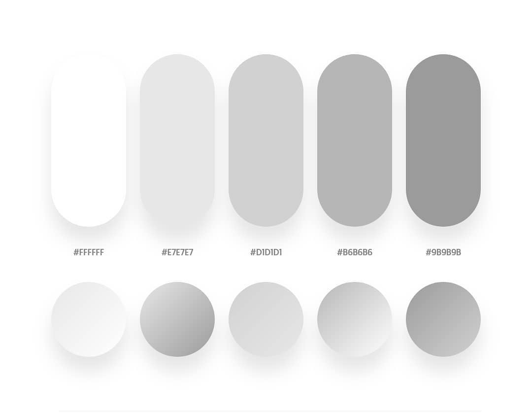 Grey color schemes & gradient palettes
