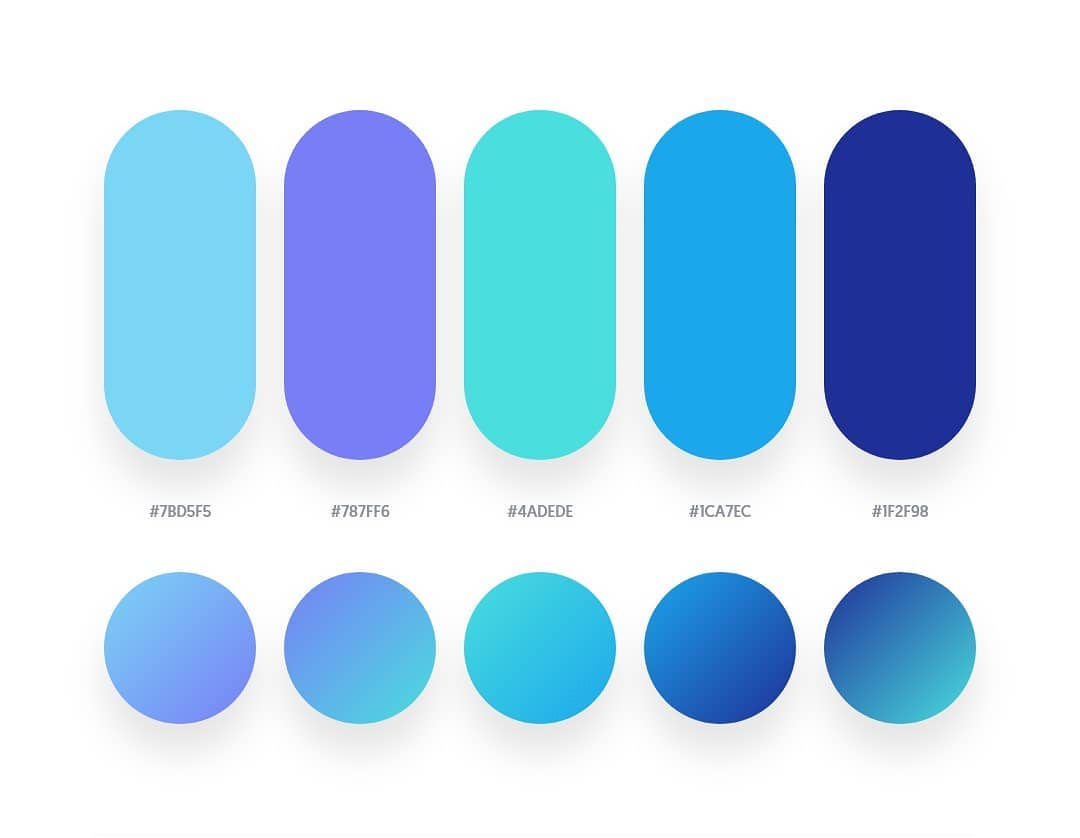 Blue, green, purple color schemes & gradient palettes