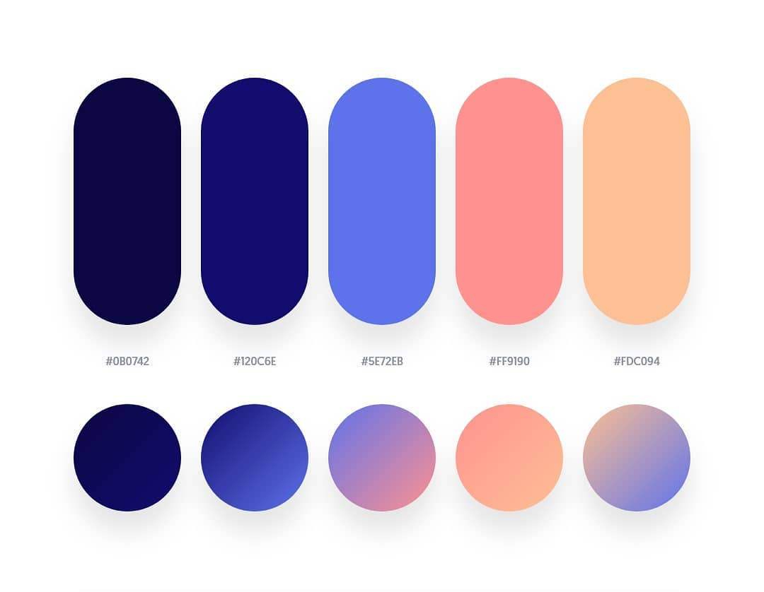 Blue, orange color schemes & gradient palettes