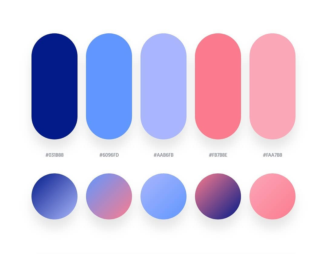 Blue, purple, pink color schemes & gradient palettes