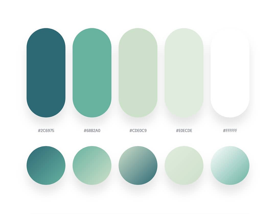 Green color schemes & gradient palettes
