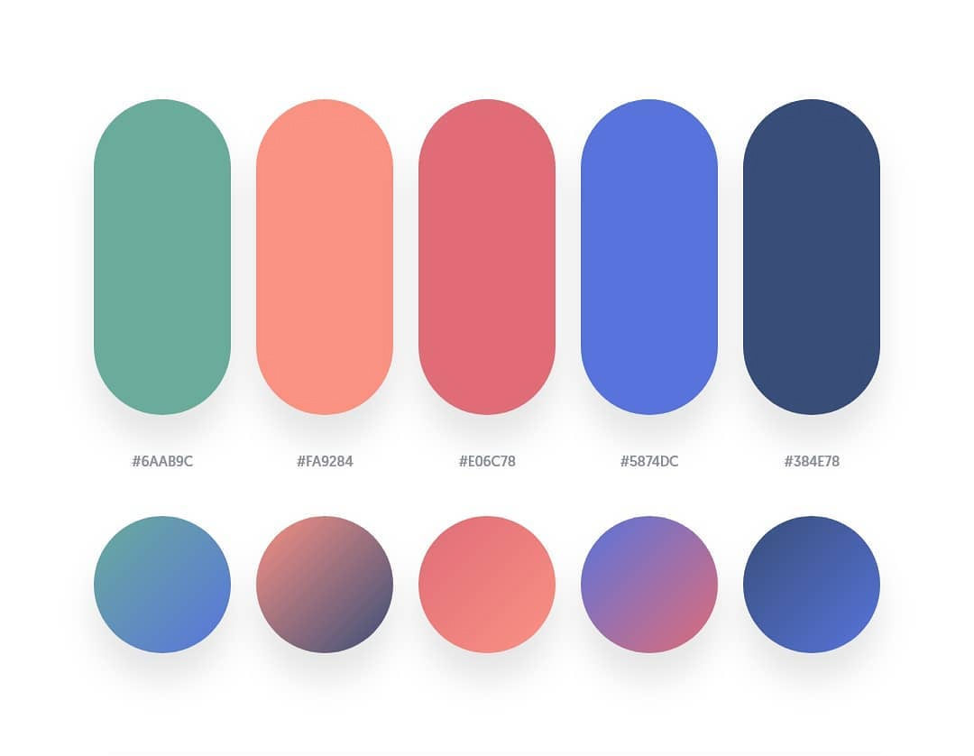 Green, orange, red, blue color schemes & gradient palettes