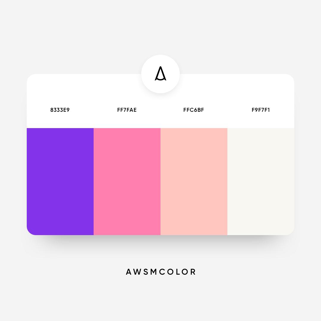 Purple, pink, orange, white color shades, palettes, combinations, schemes