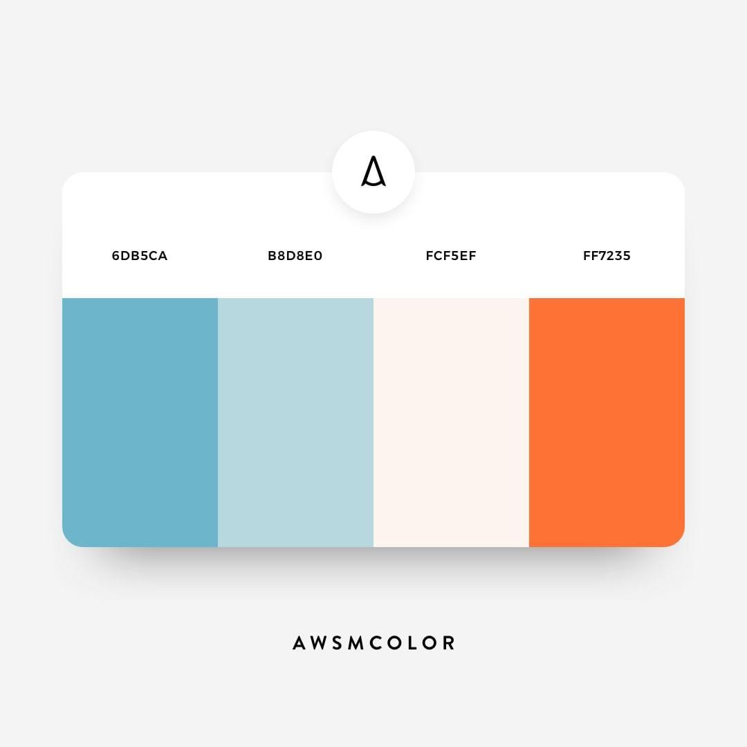 Blue & orange color shades, palettes, combinations, schemes