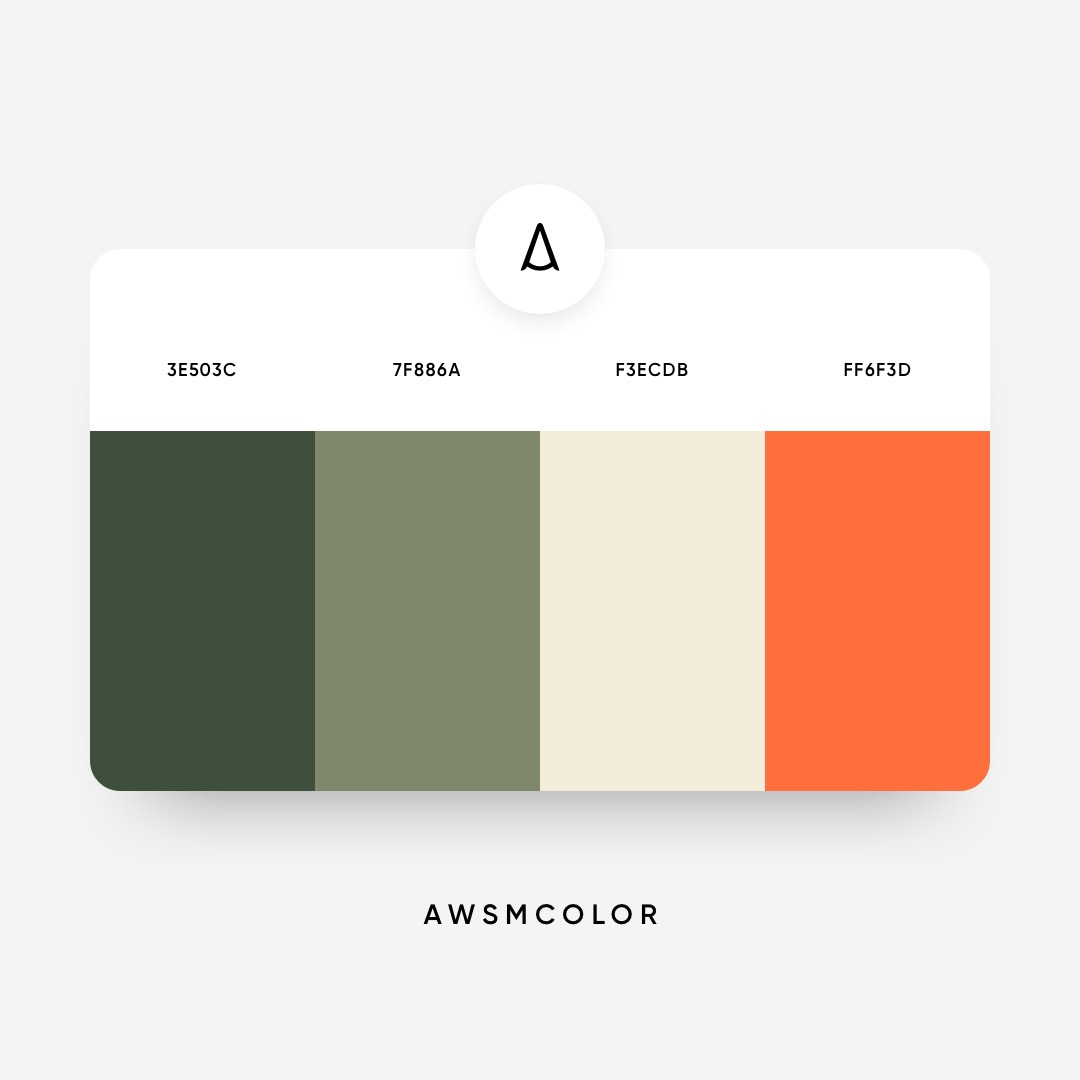 Green & orange color shades, palettes, combinations, schemes