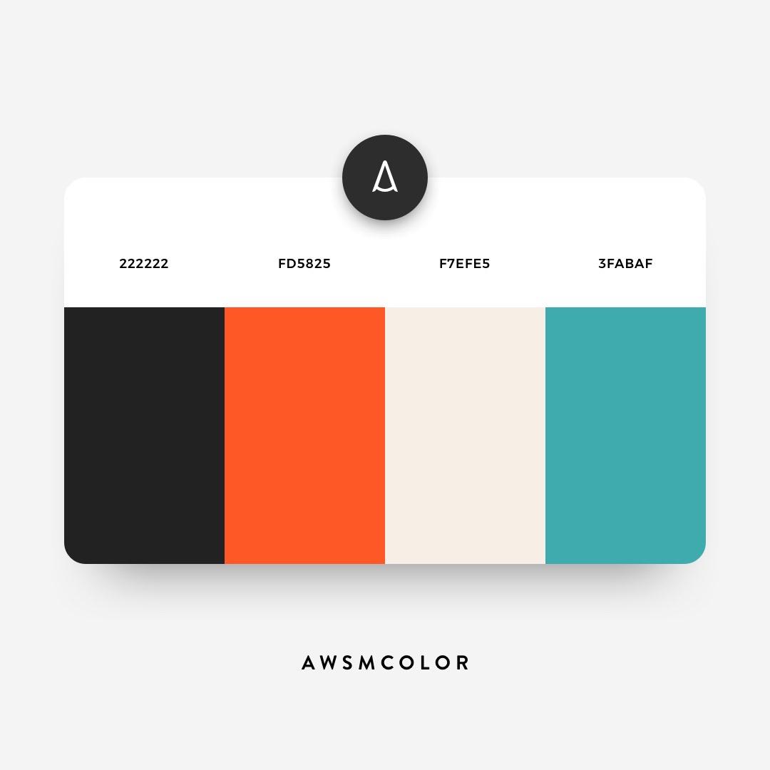 Orange, black, blue color shades, palettes, combinations, schemes