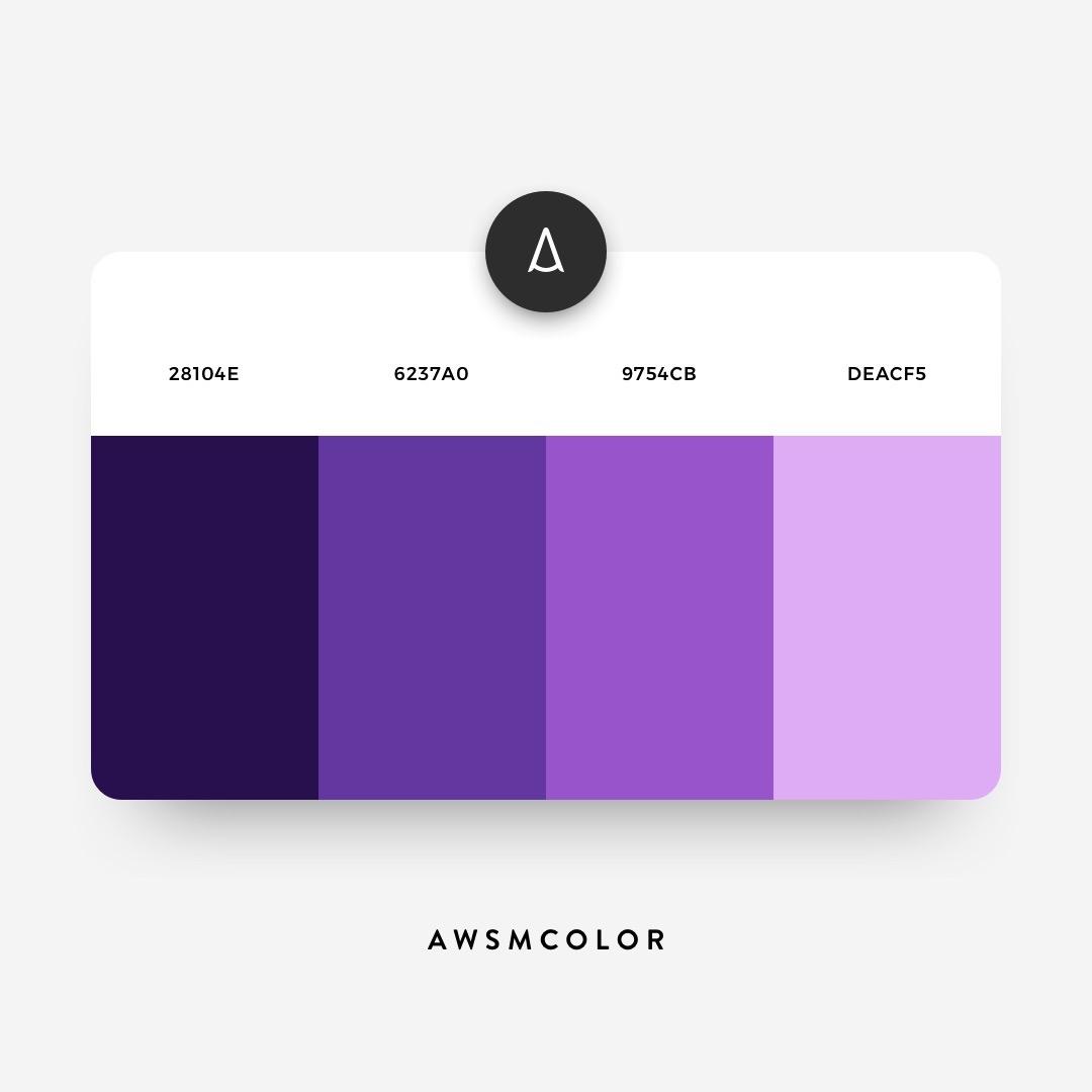 Purple color shades, palettes, combinations, schemes