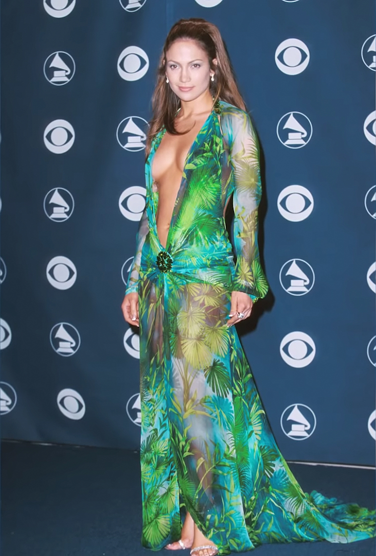 Jennifer Lopez's Green Versace Dress at 2000 Grammy Awards