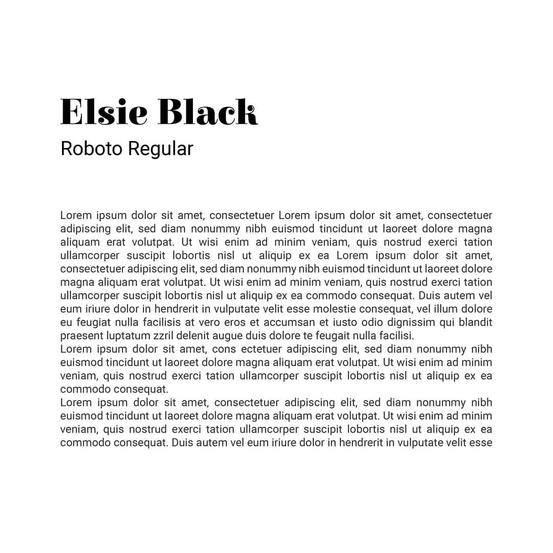 Best font combinations and typeface pairings - Elsie Black / Roboto Regular