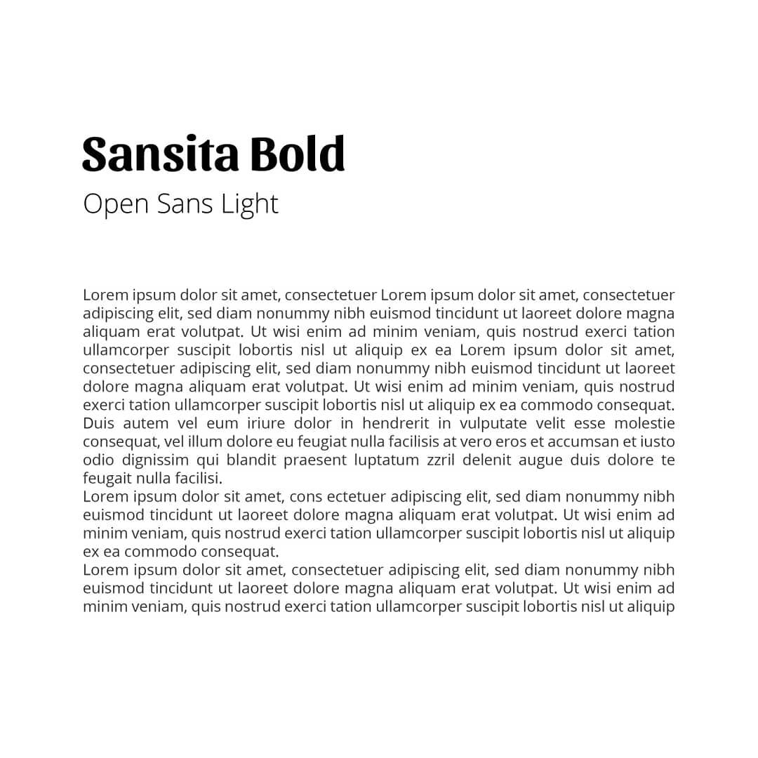 Best font combinations and typeface pairings - Sansita Bold / Open Sans Light