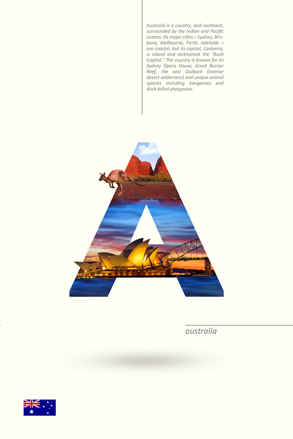 Beautiful Alphabet Series Of Countries And Their Iconic Landmarks - Australia